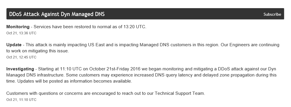 Status screenshot from dynstatus.com, indicating that there is a DDoS attack against Dyn Managed DNS.