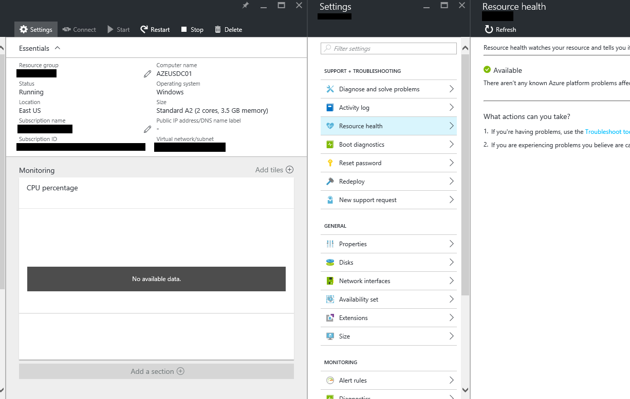 A screenshot of the Azure portal displaying a VM and navigation to configuration of the VM