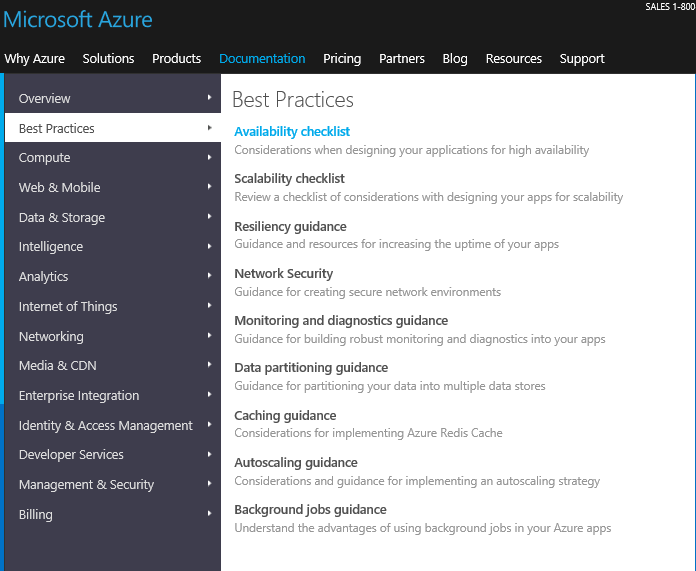 A screenshot from Azure.com displaying the Documentation/Best Practice navigation