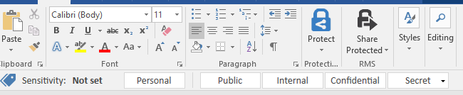 A partial image of the Word 2016 toolbar, with a new icon