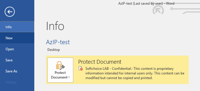 Image of the file properties of the file I just classified as confidential. The document is protected using the Softchoice LAB - Confidential template for internal users only.