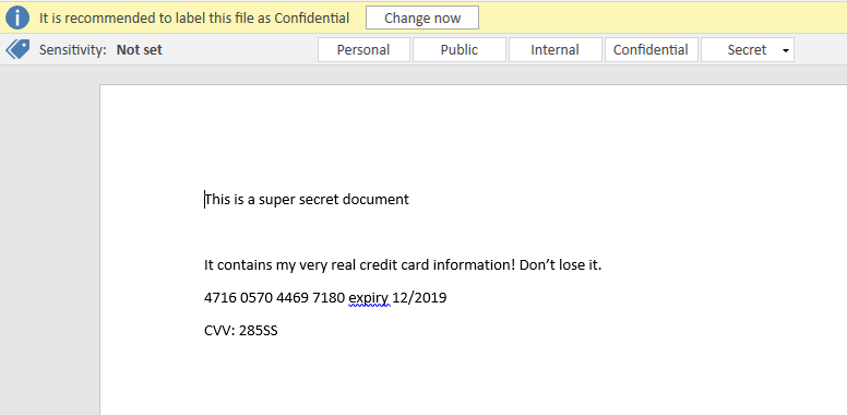 Recommended tag alert in Word, because it detected a credit card number