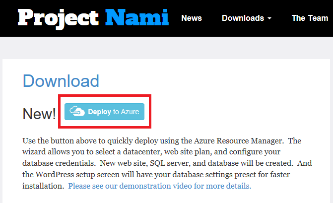 Screenshot of http://projectnami.org/download/ with the Deploy to Azure button highlighted