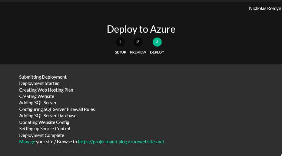 Screenshot of step three from deploy.azure.com - showing the deployment steps and the items created, whether successful or not.