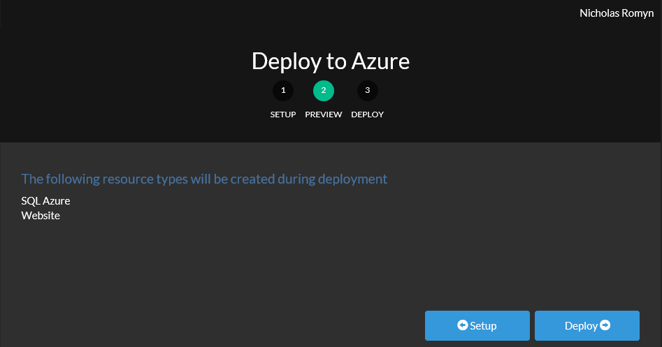 Screenshot of the Deploy to Azure page, step two - Preview. Two resources will be deployed: SQL Azure, and a Website.
