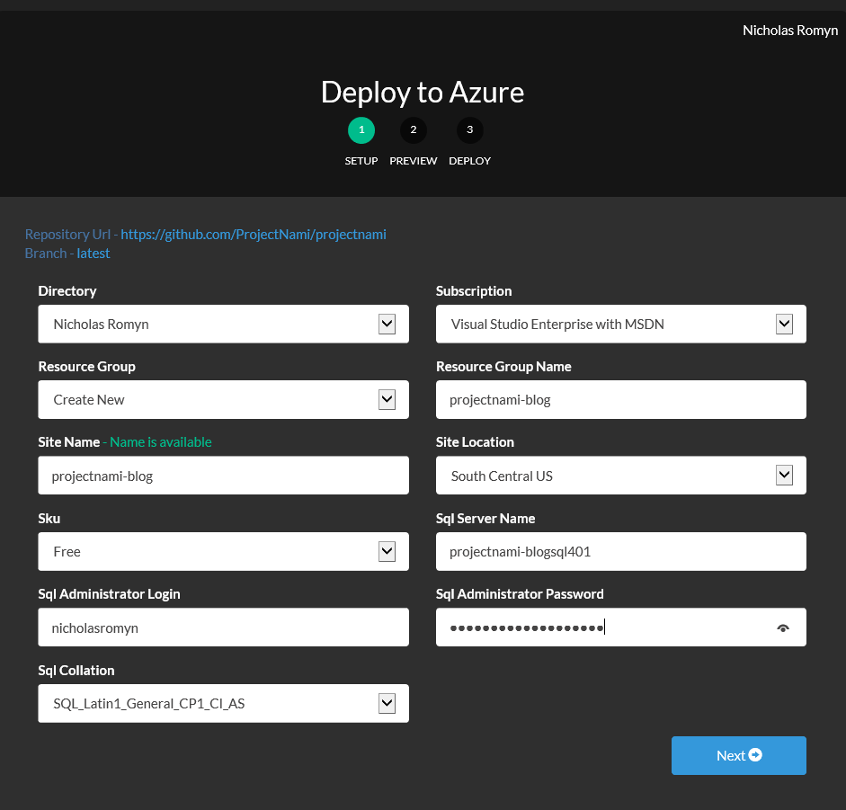 Screenshot of deploy.azure.com, having loaded the Project Nami deployment template.