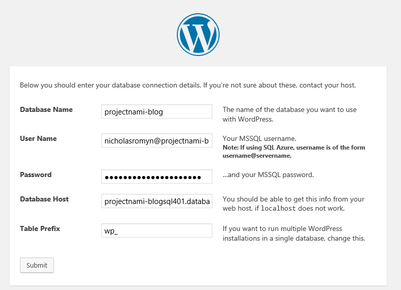 The second screen of WordPress setup, after the language is selected, requesting database administrator information