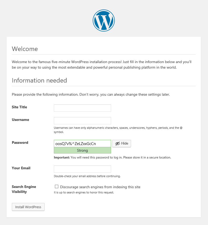 WordPress setup screen 3, requesting first-user login information and the Site Name.