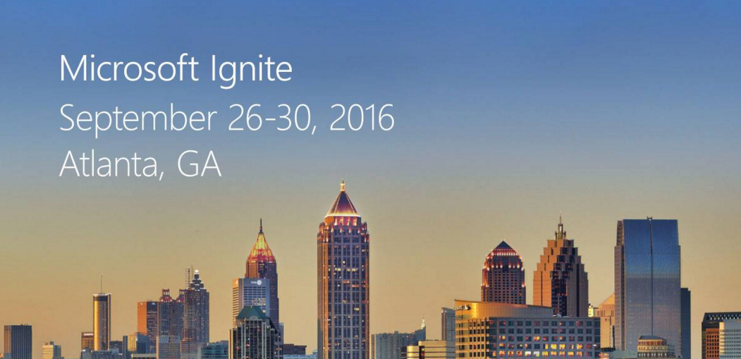 Microsoft Ignite logo, a scene of downtown Atlanta with text overlaid