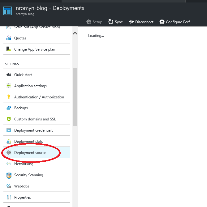 A screenshot of the Azure portal highlighting the Deployment Source menu item on an Azure Web Site.