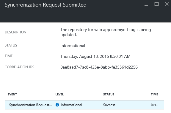 Screenshot from Azure portal indicating the current status of the synchronization of the repository for the website to be updated.