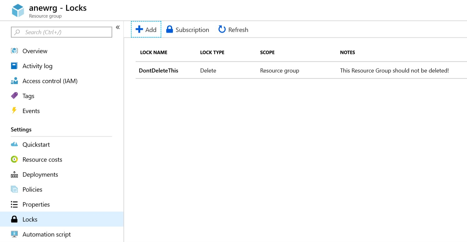 Partial screenshot from Azure Portal, showing a resource group with a lock applied of type
