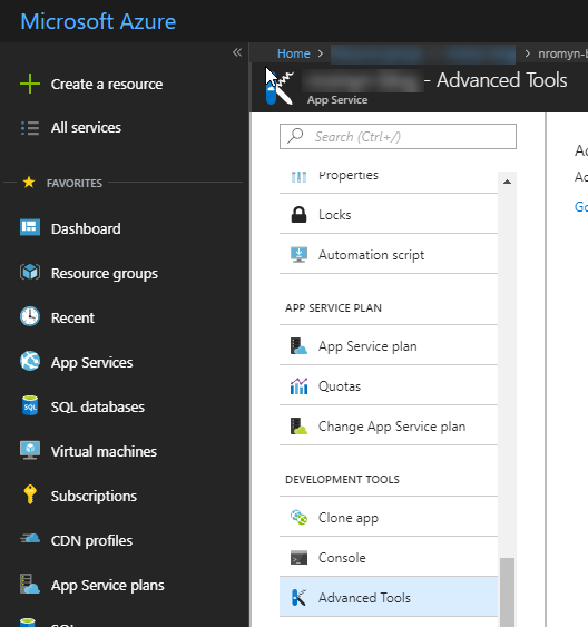A screenshot of the Azure portal, showing a portion of the screen, highlighting the Advanced Tools link in an Azure App Service instance
